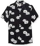 Goodthreads Camisa Hawaiana de Manga Corta con Cuello de Campamento Button-Down-Shirts, Flor de Loto, L