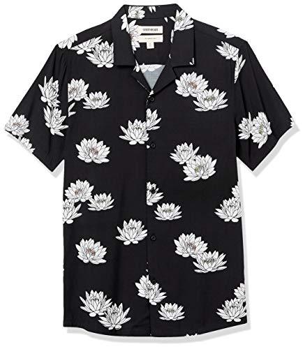 Goodthreads Camicia Hawaiana Slim Fit a Maniche Corte con Colletto da Campeggio Athletic-Shirts, Fiore di Loto, L