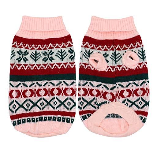 XZHH Kerst Kat Kleding Coltrui Huisdier Puppy Knitwear Winter Huisdier Kostuum Kleding, XXL, roze