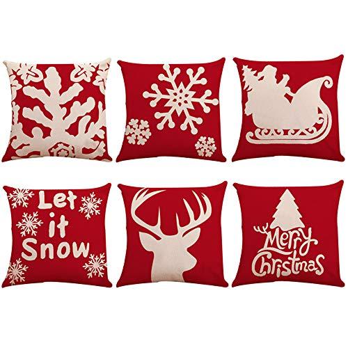 Zolimx Cuscini Natale,Cuscini Natale Per Divano, 6 Pz Natale Cuscino Copre Ricamo Gettare Federe Per Auto Casa Decorativa