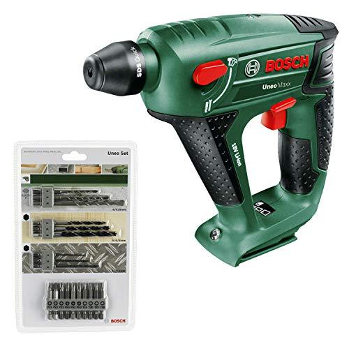 Bosch Uneo Maxx - Martillo perforador a batería (18 V, portabrocas adicional para brocas cilíndricas) + Bosch 2 609 256 989 - Juego variado Uneo (pack de 19)