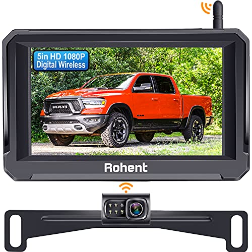 Wireless Backup Camera with 5 Inch Monitor, Rohent R3 HD 1080P Bluetooth Backup Camera Stable Digital Signal for Trucks Cars Campers License Plate Hitch Rear View Camera with Fan-Shaped Metal Design