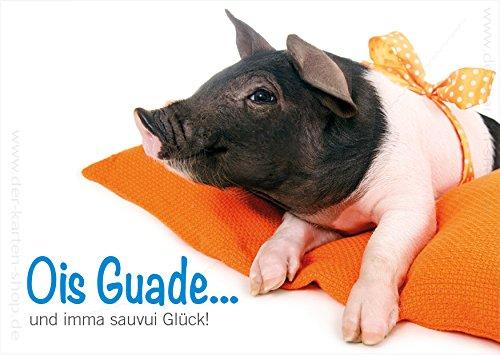 A6 Tierpostkarte, Postkarte mit Ferkel, Schwein, Ois Guade und viel Glück, bayerisch im 3er Set