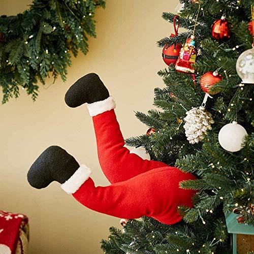 WEHOLY Pap Noel Elfo Suave Felpa piernas ladrn de Navidad Lindo Rojo Relleno pies decoracin pegada en rbol Topper Ventana Fiesta Adornos Regalo