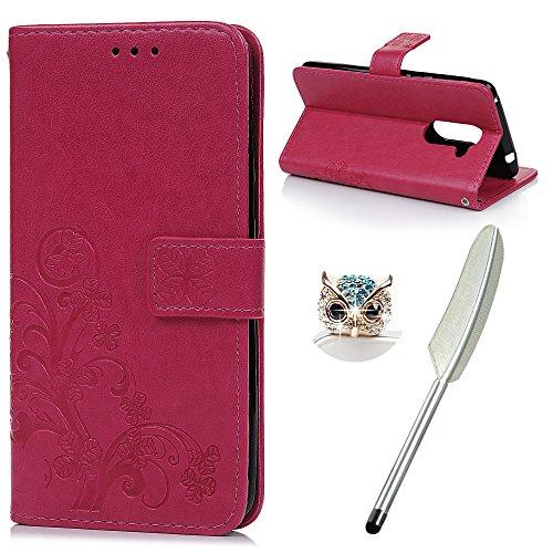 YOKIRIN Huawei Honor 6X Flip Hülle Huawei Honor 6X Wallet Hülle Bookstyle Flipcase Lederholster Schutzhülle PU Leder Handytasche Brieftasche Geldbörse Klapptasche Ständer Tasche Glücksklee Rose Rot