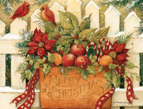 LANG 1004675 -'Merry Christmas Welcome', Boxed Christmas Cards, Artwork by Susan Winget' - 18 Cards, 19 envelopes - 5.375' x 6.875'