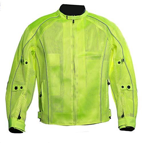 Summer Riding Jacket summer motorcycle jacket underarmour jacket biking jacket men jackets casual (Hi Viz Green, 2XL)