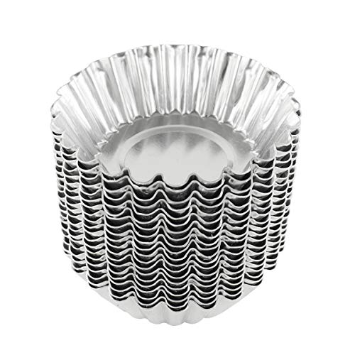 Bezall 20pcs Egg Tart Aluminum Cupcake Cake Cookie Mold Lined Mould Tin Baking Cups