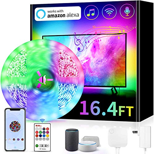 TV Backlight Works with Alexa, Hamlite 16.4Ft Music Sync Color Changing RGB Smart LED Strip Lights for 75 80 Inch TV, App Controlled 6500K Pure White Bias Lighting Christmas Gifts (Non USB Powered)