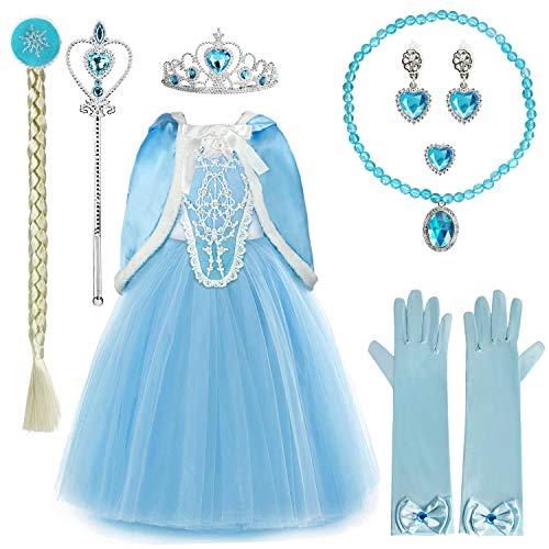 Discoball Prinzessin Mädchen Blaues Kostüm Cosplay Fancy Party Mädchen Hochzeit Kleid mit Pelzbesatz Umhang Gr. 4-5 Jahre , Blau (Luxury)