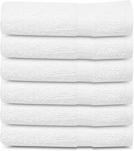 Towels N More 6 Pack 22x44 White Gym Towel 100% Cotton for Maximum Absorbent Easy Care Lightweight Home Bath Towels, Salon Towels, Motels, use (6, 22x44)