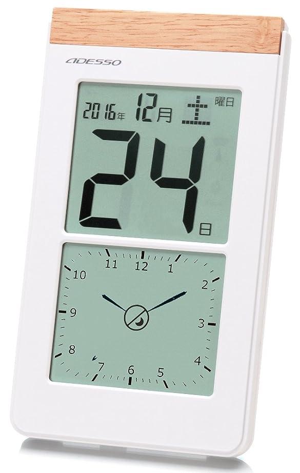 代理人罰する名詞アデッソ 壁掛け時計 デジタル日めくり 電波時計 アナログ式デジタル表示付き 置き掛け兼用 ホワイト K-8656