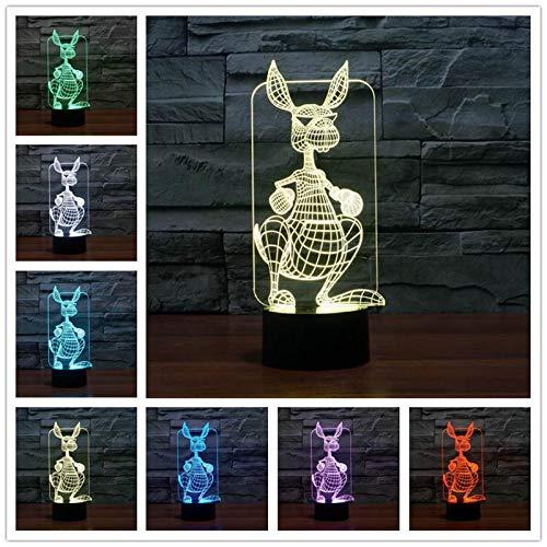Animal canguro multicolor led visual creativo luz nocturna lámpara de mesa 3d decoración usb regalo de la habitación de los niños