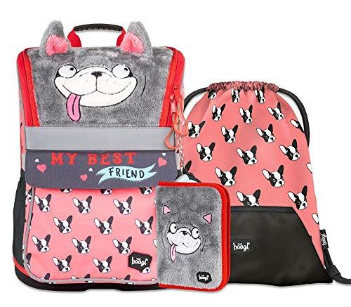 Schulranzen Mädchen Set 4 Teilig, Zippy Schultasche ab 1. Klasse, Grundschule Ranzen mit Brustgurt, Ergonomischer Schulrucksack (Doggie)