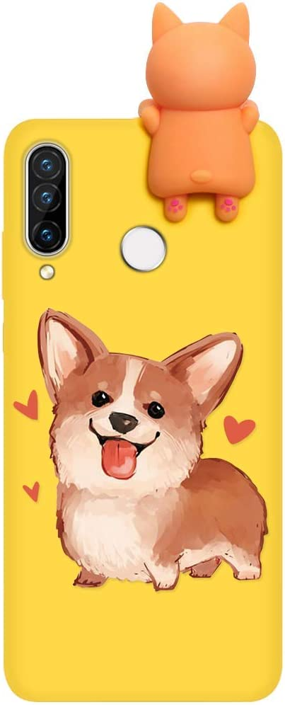 Panda 03 White Silicone Shockproof with Print Panda Pattern Anti-Scratch Bumper Back Cover for Huawei P30 Lite Yoedge Phone Case Designed for Huawei P30 Lite with 3D Cartoon Doll