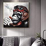 yaonuli Art Monkey Gorilla Smoking Animal Poster and Mural Canvas Painting Wall Art Picture Living Room Bedroom Pintura sin Marco 50x50cm