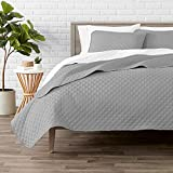 Bare Home Premium 2 Piece Coverlet Set - Twin/Twin Extra Long Size - Diamond Stitched - Ultra-Soft Luxurious Lightweight All Season Bedspread (Twin/Twin XL, Light Grey)