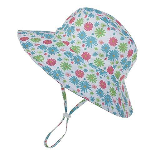 LACOFIA Chapeau de Soleil Bob Réglable pour Bébé Bonnet d'été pour Enfant Fille Bord Large pour Piscine/Plage/Natation/Extérieure UPF 50+ 6-24 Mois