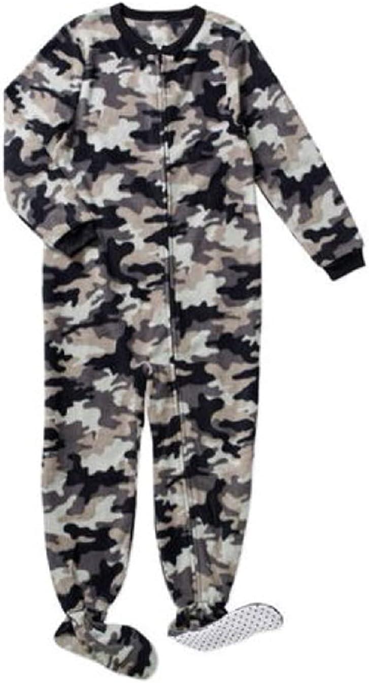 Faded Glory Sleeper Boys Size 14-16 feet Attached Polyester Zipper Closure Camouflage Fleece Grey Black