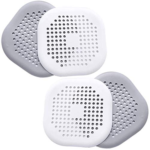 BONHHC Filtro de Fregadero de Silicona/Filtro de Drenaje de Ducha/para el baño o la Cocina/4 Piezas/Gris y Blanco