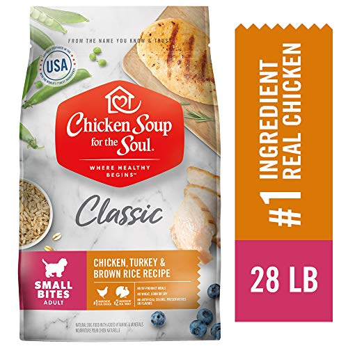 Chicken Soup for The Soul Small Bites Dog Food, Chicken, Turkey and Brown Rice, 28 lb. Bag | Soy Free, Corn Free, Wheat Free | Dry Dog Food Made with Real Ingredients