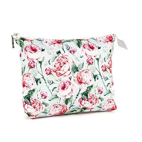 LimeWorks Kulturbeutel Reisebeutel Kosmetiktasche Motiv Rosen-Muster Blumen-Motiv Floral