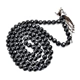 Reiki Crystal Products Natural Black Tourmaline Mala - Necklace 8 mm 108 Diamond Cut Beads Jap Mala for Reiki Healing Stylish Chakra Mala. Fashion Jewellery (Length 32 inch)