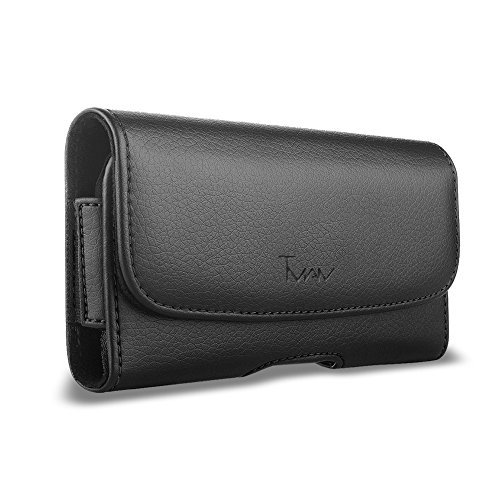 for LG X Charge Case, LG X Charge Leather Pouch; TMAN Leather Case with Magnetic Closure with Belt Clip and Belt Loops for Cricket LG X Charge M327 with Otterbox Case on