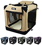 EliteField 3-Door Folding Soft Dog Crate, Indoor & Outdoor Pet Home, Multiple Sizes and Colors Available (24' L x 18' W x 21' H, Beige)