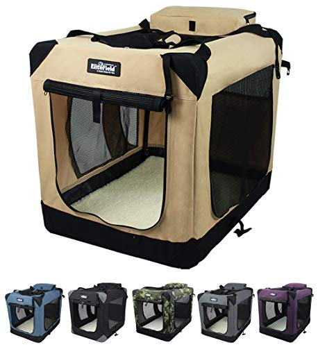 EliteField 3Door Folding Soft Dog Crate Indoor amp Outdoor Pet Home Multiple Sizes and Colors Available 24quot L x 18quot W x 21quot H Beige