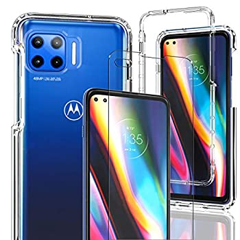 Motorola One 5G Case Moto One 5G UW/Moto G 5G Plus Phone Case AMENQ Heavy Duty Shock Proof Protective with TPU Bumper and Rugged PC Front Cover for Android Phone  Clear