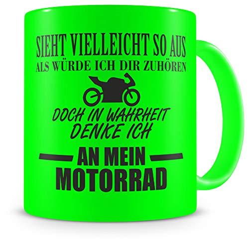 Samunshi® Tasse mit Spruch Ich denke an mein Motorrad Geschenk für Männer Kaffeebecher Kaffeepott neon grün