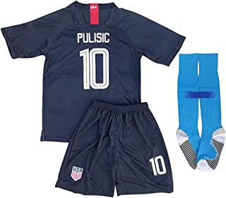 2018/2019 New USA 10 Pulisic Kids/Youths Away Soccer Jersey & Shorts & Socks Color White (6-11years)