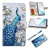 UrSpeedtekLive Galaxy Note 10 Plus Case, Galaxy Note 10 Plus 5G Wallet Case, Premium PU Leather Wristlet Flip Wallet Case Cover with Card Slots & Stand for Samsung Galaxy Note 10 Plus - Peacock