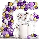 MMTX Kit de Guirnalda de Globos, 125 Piezas Guirnalda de Arco de Látex Globos Púrpura y Blanco Globos de Cumpleaños Dorado y Confeti Globos para Decoración de Boda Cumpleaños Fiesta