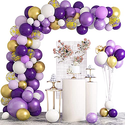 MMTX Balloon Arch Garland Kit, 125Pcs Purple Gold and White Party Decoration Party Supplies Confetti Balloon Latex Party Balloon for Wedding Birthday Graduation Baby Shower