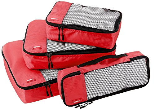 Amazon Basics - Bolsas de equipaje (pequeña, mediana, grande y alargada, 4 unidades), Rojo