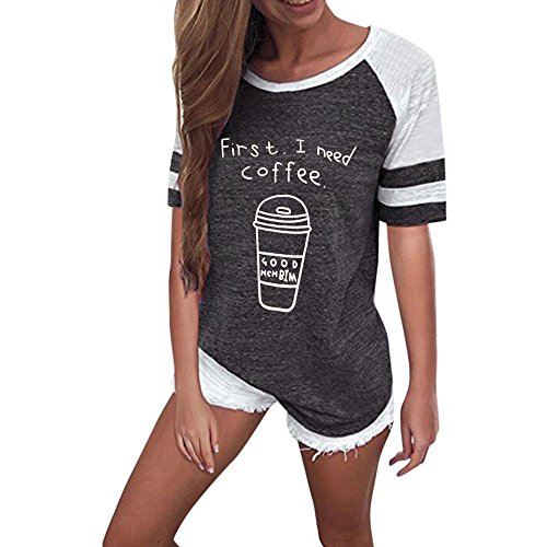 Momoxi Frauen Damen O-Ausschnitt Kurzarm Brief gedruckt Bluse Tops Kleidung T-Shirt Top Tank T-Shirt Dunkelgrau L