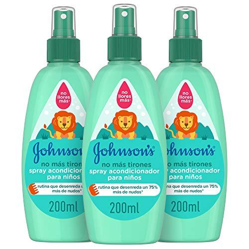 Johnson's Baby - Acondicionador spray No Más Tirones para niños, 3 x 200 ml