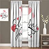 I Love You - Cortinas opacas para dormitorio (54 x 63 cm), diseño de espiral, diseño de caligrafía con corazones de San Valentín, color negro
