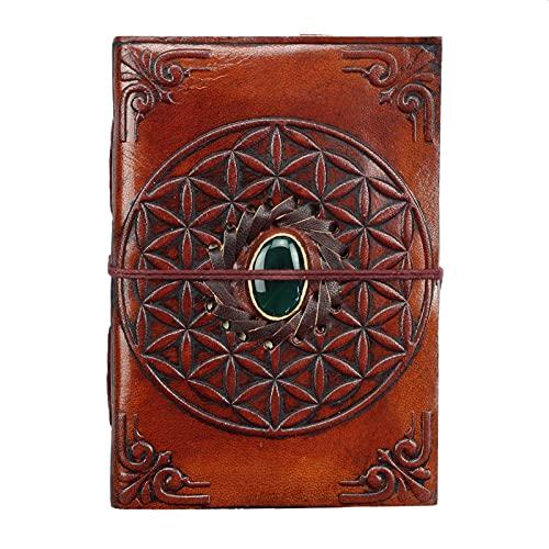 Freak Scene Libreta de cuero - marrón rojizo - cuaderno de bocetos - diario - con piedra - flor de la vida