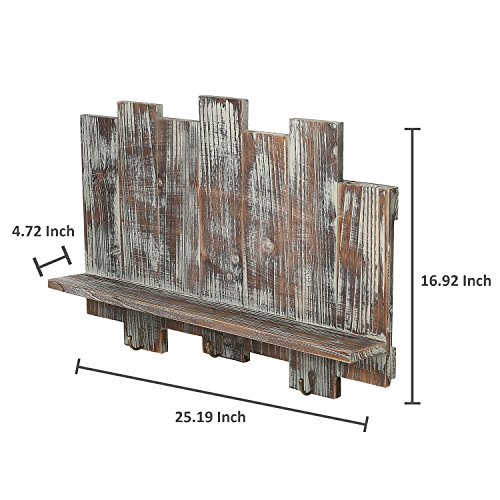 MyGift Distressed Wood Wall-Mounted Floating Shelf Rack with Staggered Board Backdrop and 3 Key Hooks, Brown