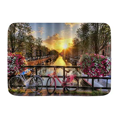 Alfombrillas para Puertas Venecia Ciudad del Agua Puente del Atardecer Flor en el pasamanos Bicicletas Piso de la Cocina Alfombra de baño Alfombra Absorbente Decoración de baño Interior