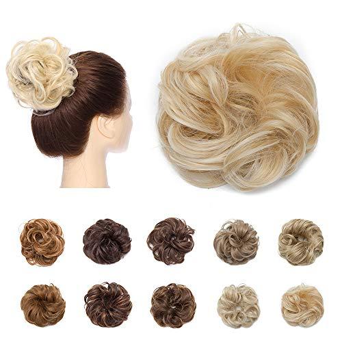 Haarteil Haargummi Updo Hair Extensions Weich Gewellt Haarknoten Dutt mit Haaren Hochsteckfrisuren Natürlich wie Echthaar 25g #Goldblond & Bleichblond