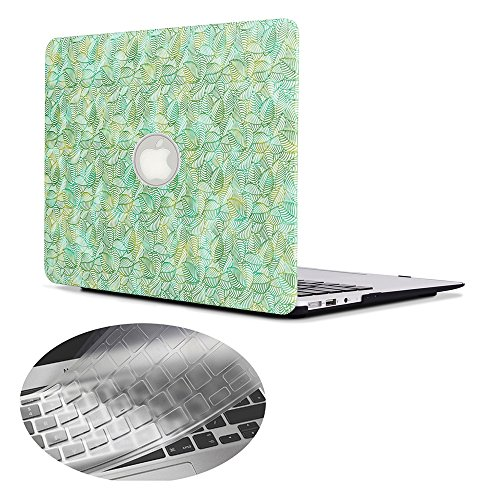 Se7enline Macbook Pro Cover Hard Shell Case for Macbook Pro 13' with Retina Display Model A1502/A1425 (Not fit 2016/2017 Macbook Pro A1706/A1708) with EU Layout Silicone Keyboard Cover, Green Leaves