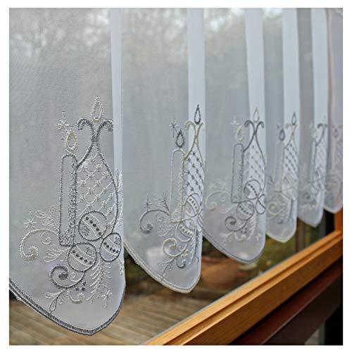 Heimtexland ® vitrage op maat - hoogte 45 cm - breedte op gewenste maat in stappen van 32 cm - bistrogordijn raamdecoratie Kerstmis geborduurd type 665