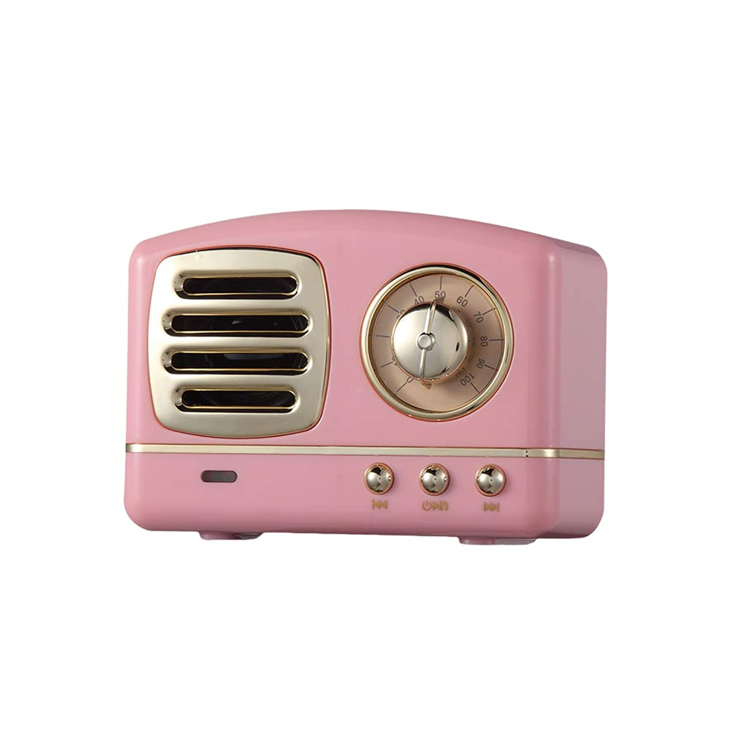 UKCOCO Retro HiFi Stereo Bluetooth V4.1 Speaker Portable Wireless Speaker with FM Radio (Pink)