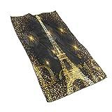 XCNGG Shiny Paris Eiffel Tower Francia Toallas de mano suaves para decoración de toallas de baño, hoteles, spa, gimnasio 60 x 30 cm