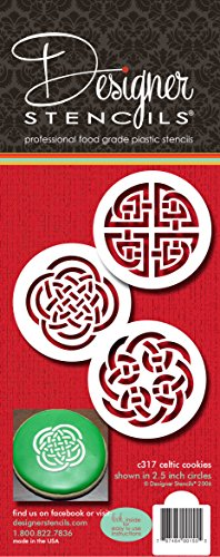 Designer Stencils C317 Celtic Knots Cookie Stencils, Beige/semi-transparent
