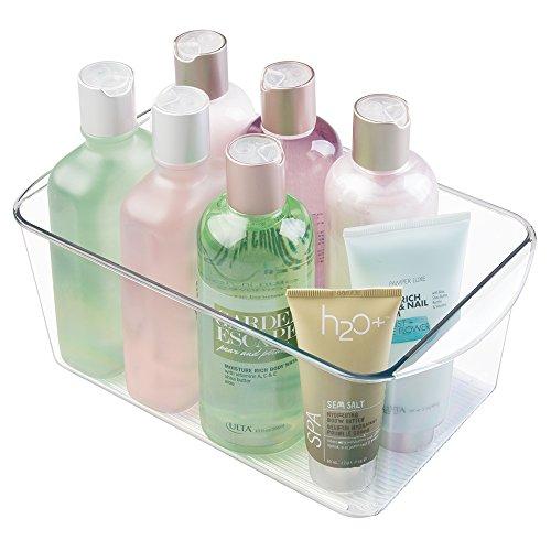 mDesign práctica Caja organizadora para Cualquier habitación Organizador de Maquillaje - Accesorio de baño para el Lavabo - Transparente